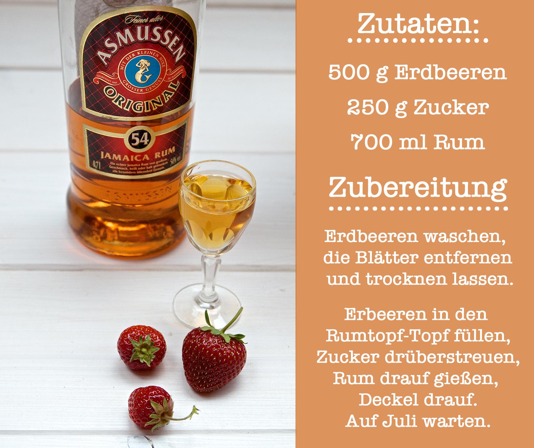 Flasche Rum, Asmussen, Schnapsglas, Erdbeeren