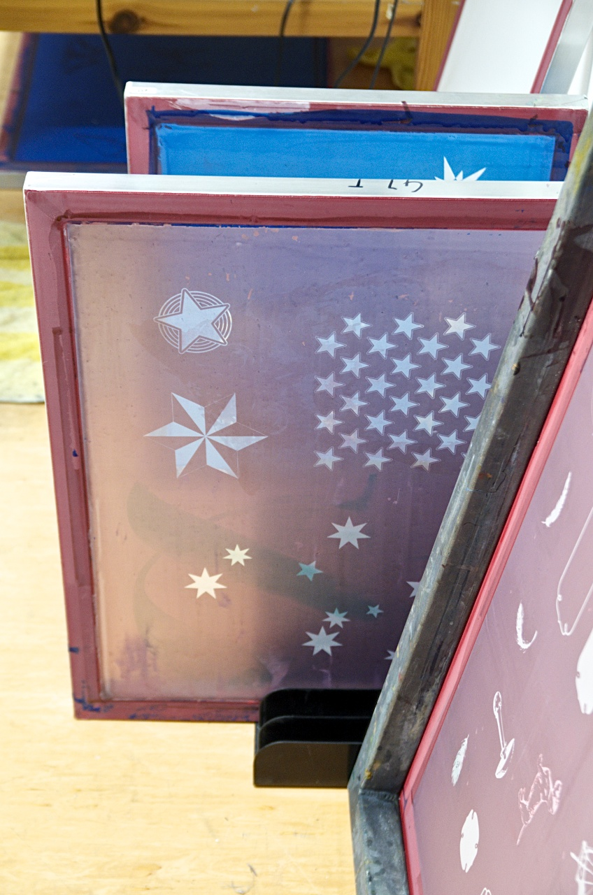 Siebdrucken bei der langen Nacht des Selbermachens von DaWanda, beschichtete Siebe, Pinkepank