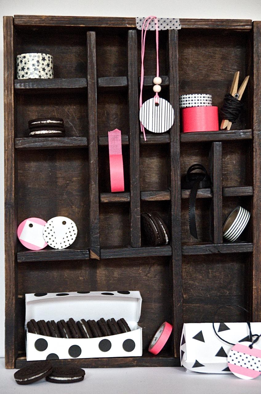 Free Printable Box Triangles Polka Dots Black White Pink Neon DIY Masking Tape Oreos Kekse Pinkepank Blog