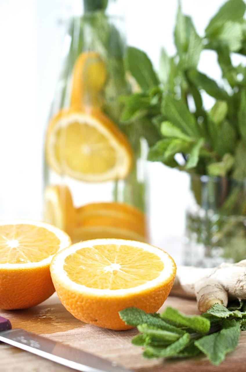 Orangen-Ingwer-Minz-Wasser