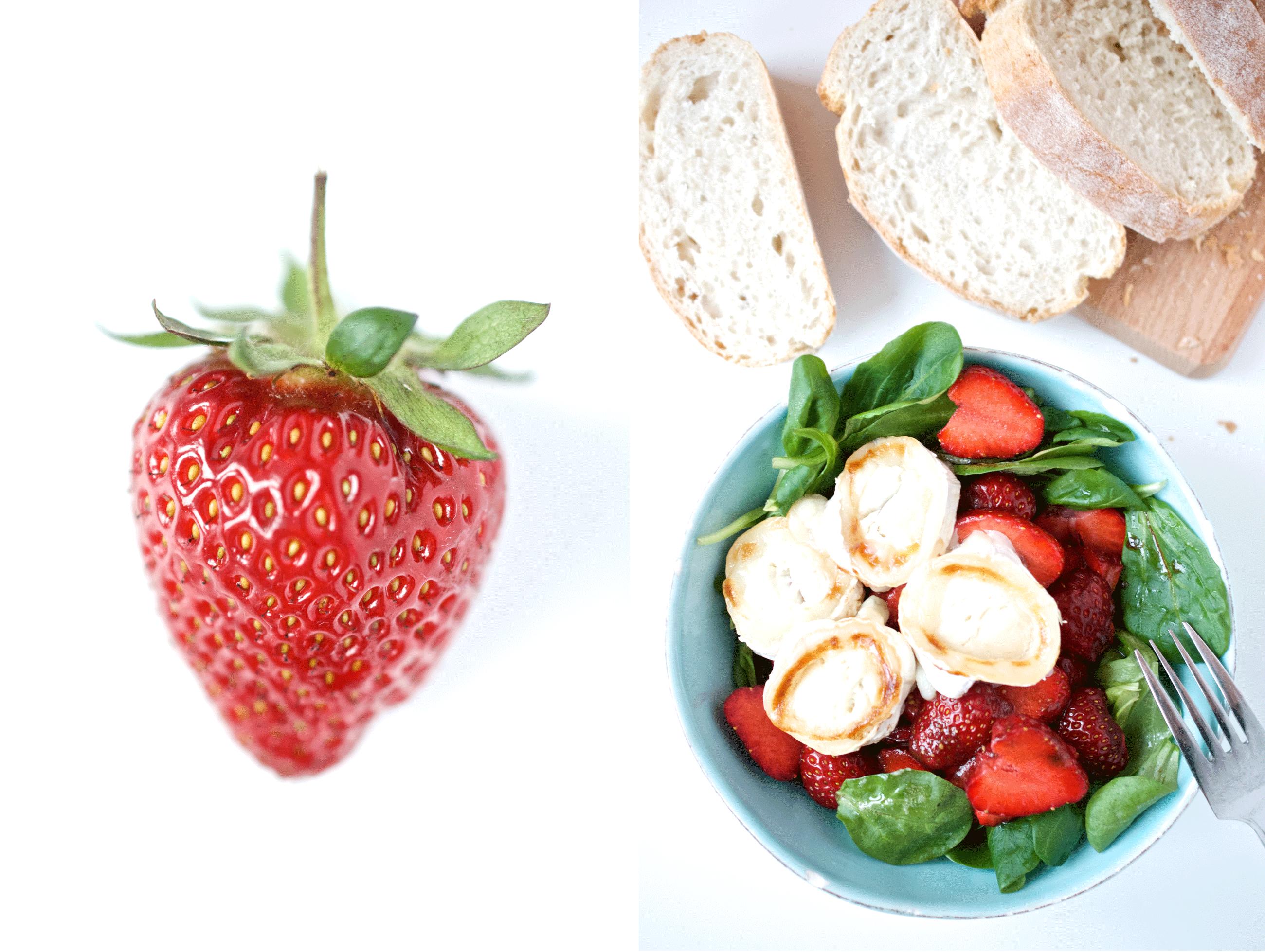 Feldsalat-mit-Erdbeeren-und-gratiniertem-Ziegenkäse