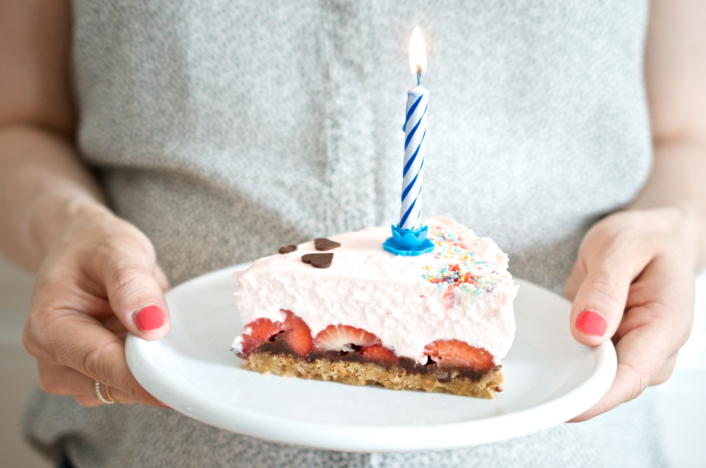 Philadelphia Torte mit Erdbeeren und Schoko-Knusperboden