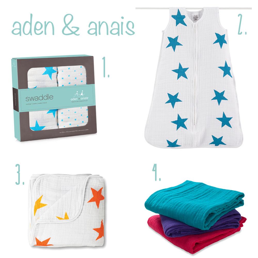 Aden&Anais Kollage mit Schlafsack, Spucktüchern, Pucktuch und Decke