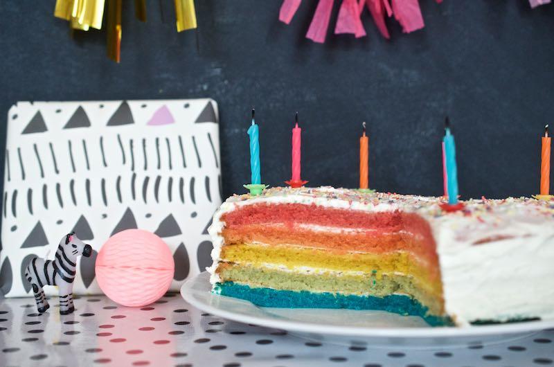 Regenbogentorte Geburtstagskuchen (4)