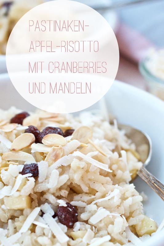 Pastinaken-Apfel-Risotto mit Cranberries und Mandeln| Pinkepank