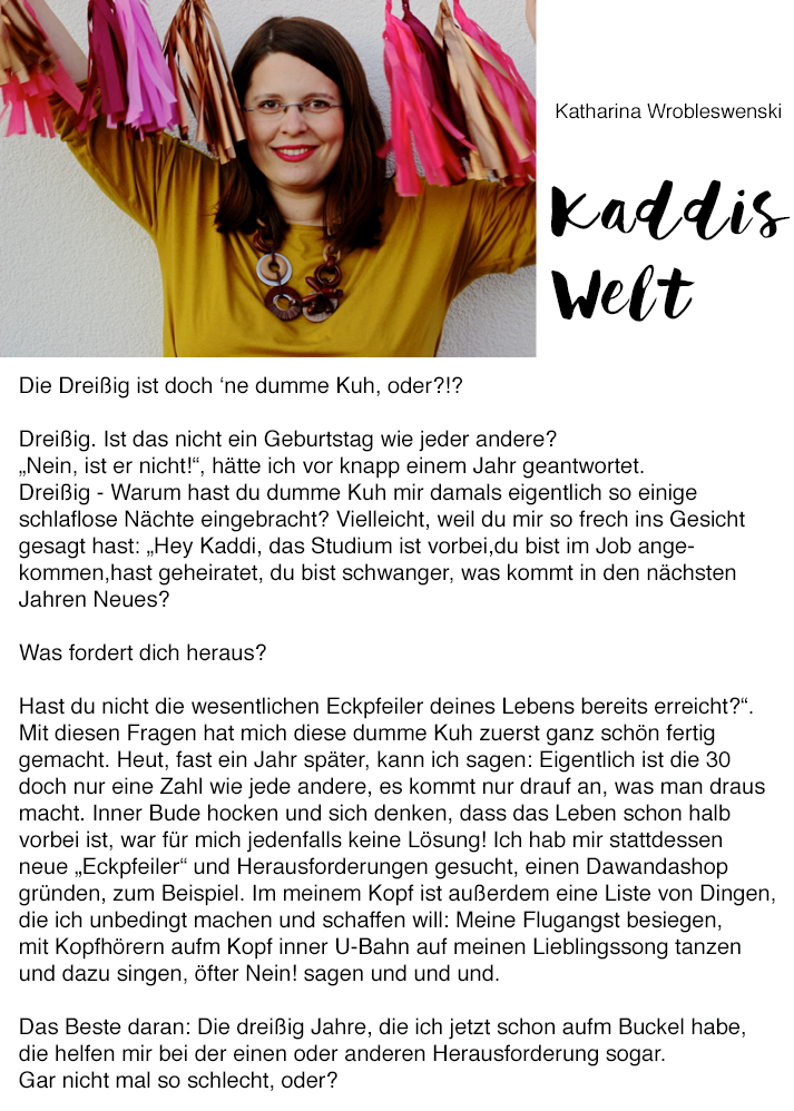 Und plötzlich ist man 30 | Kaddis Welt für Pinkepank