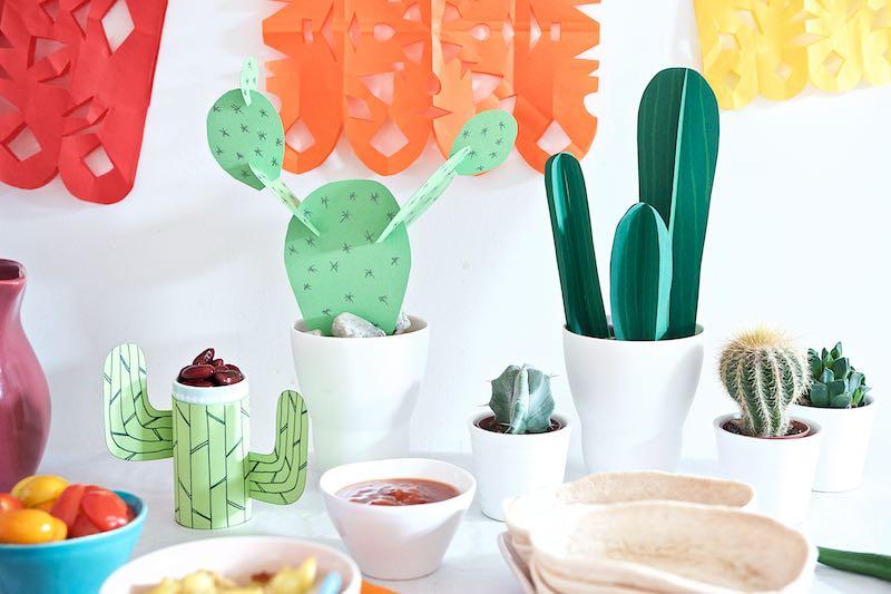 Buntes Tortilla-Familen-Essen mit Mexiko-Flair Kakteen-Bande | Pinkepank