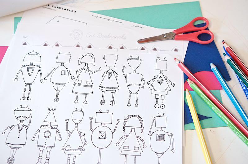 DIY Ideen für Kinder - Roboter zum Ausmalen   Pinkepank
