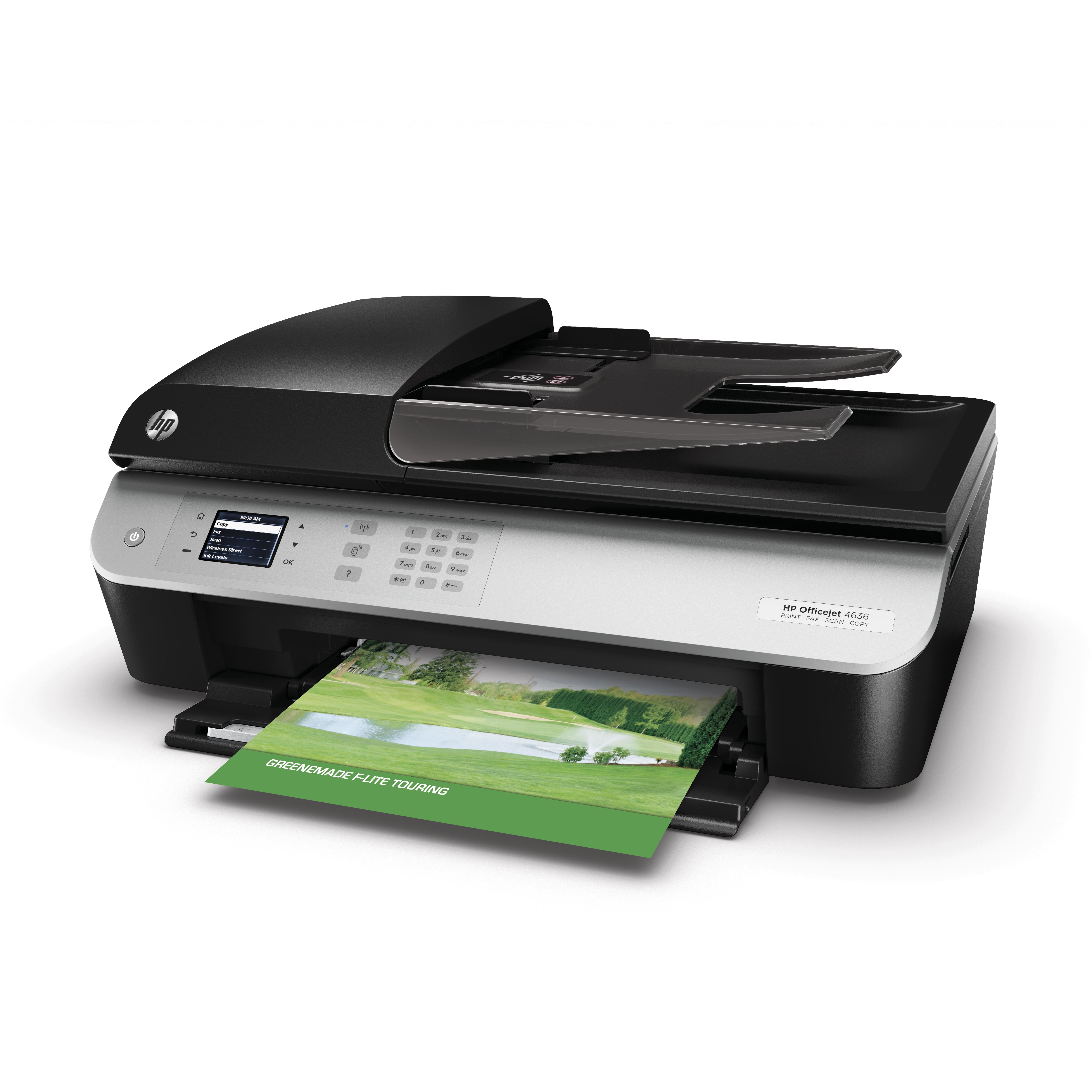 HP Officejet 4636 e-All-in-One, Left facing with output