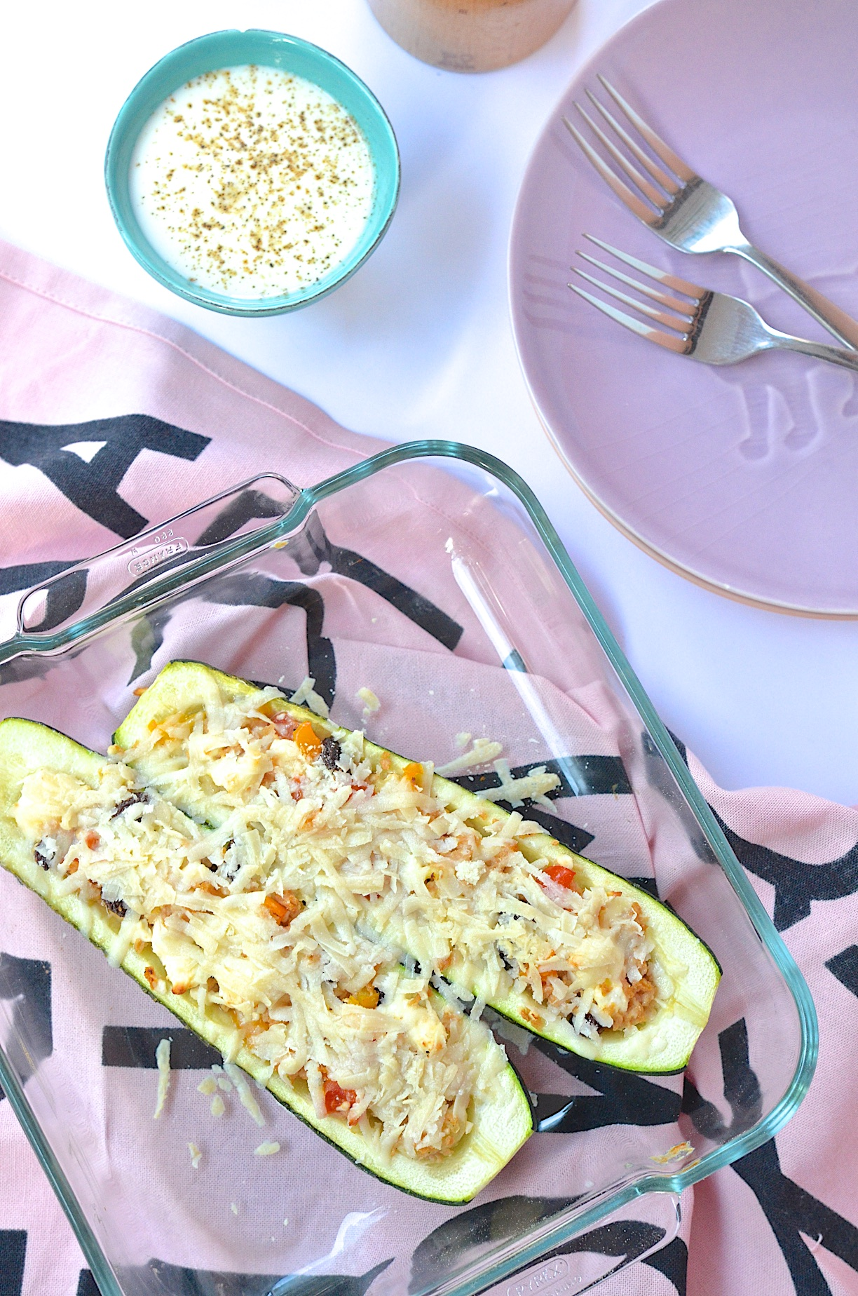 Vegetarisch gefüllte Zucchini mit Rosinen und Feta. Kochen mit Resten   Pinkepank