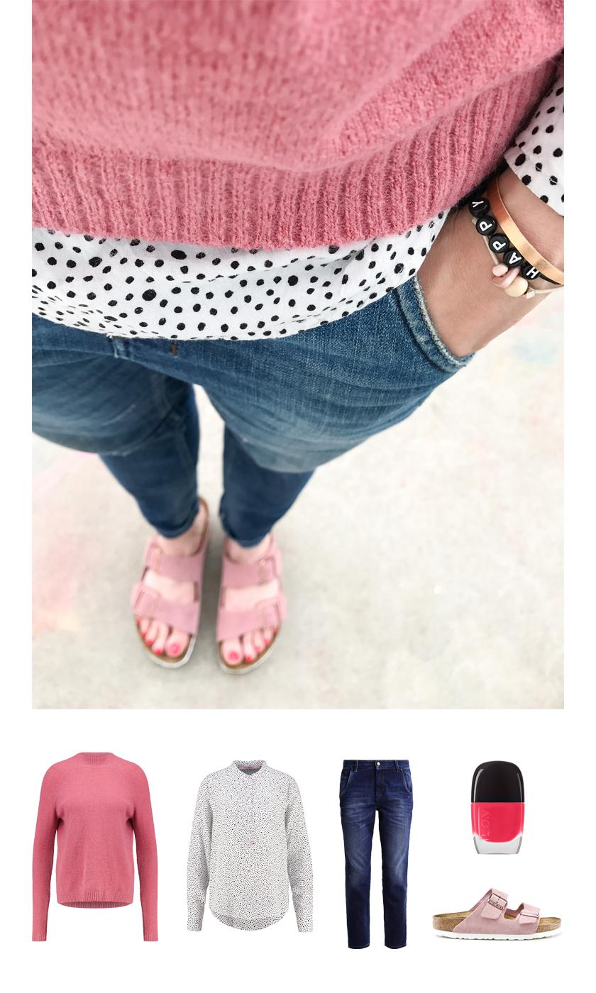 Outfit für den Frühling mit Pünktchen, Rosa und Arizona   PinkepankStyle