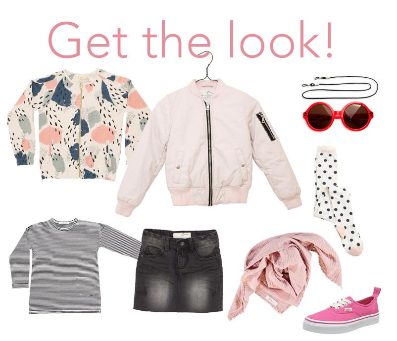 Get the Look - Frühlingsoutfit für Mädchen mit Jeansrock und rosa Bomberjacke