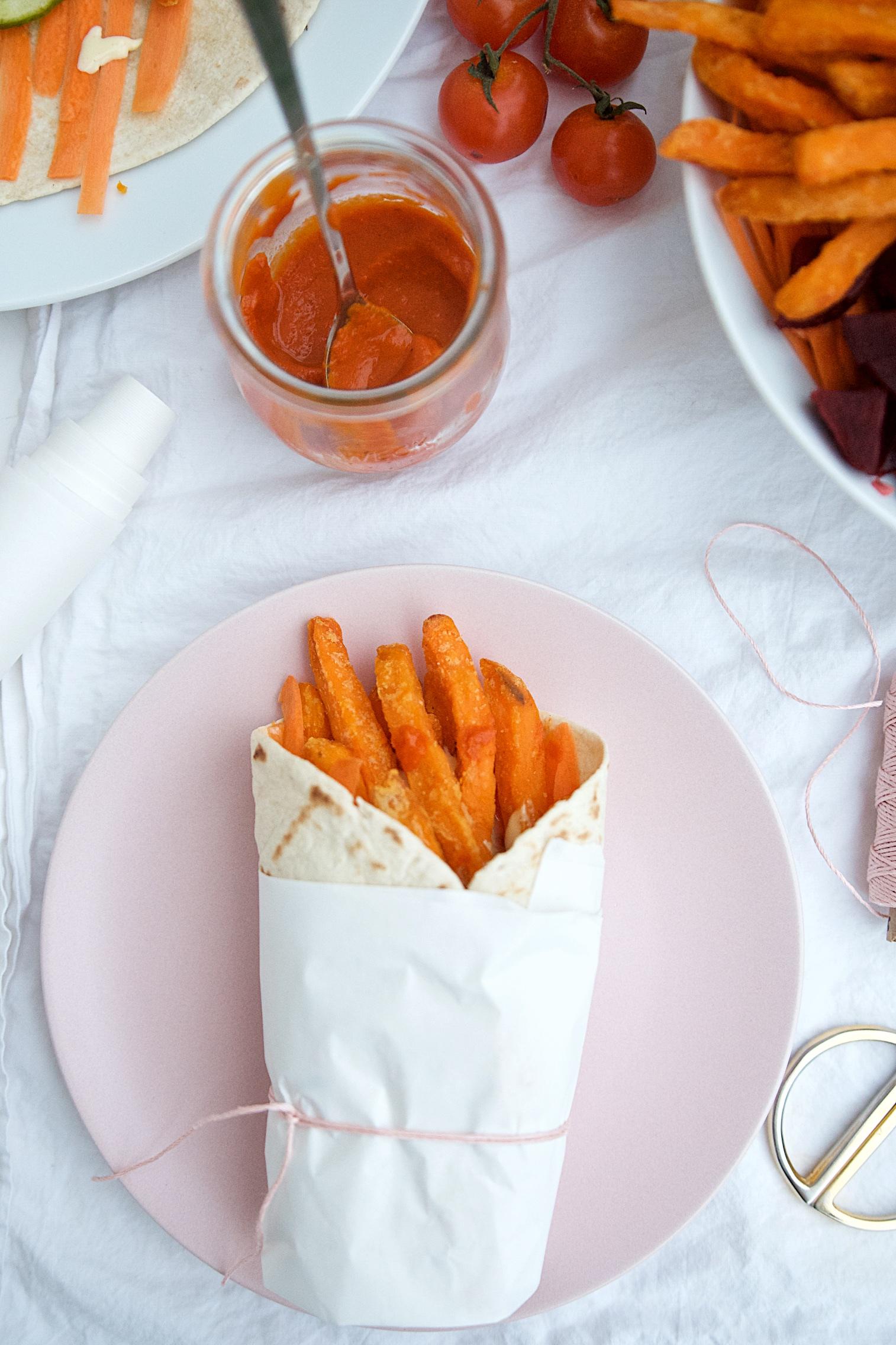 Süßkartoffelpommes-Wrap mit Gemüse und selbstgemachter Mayonnaise | Pinkepank (2)