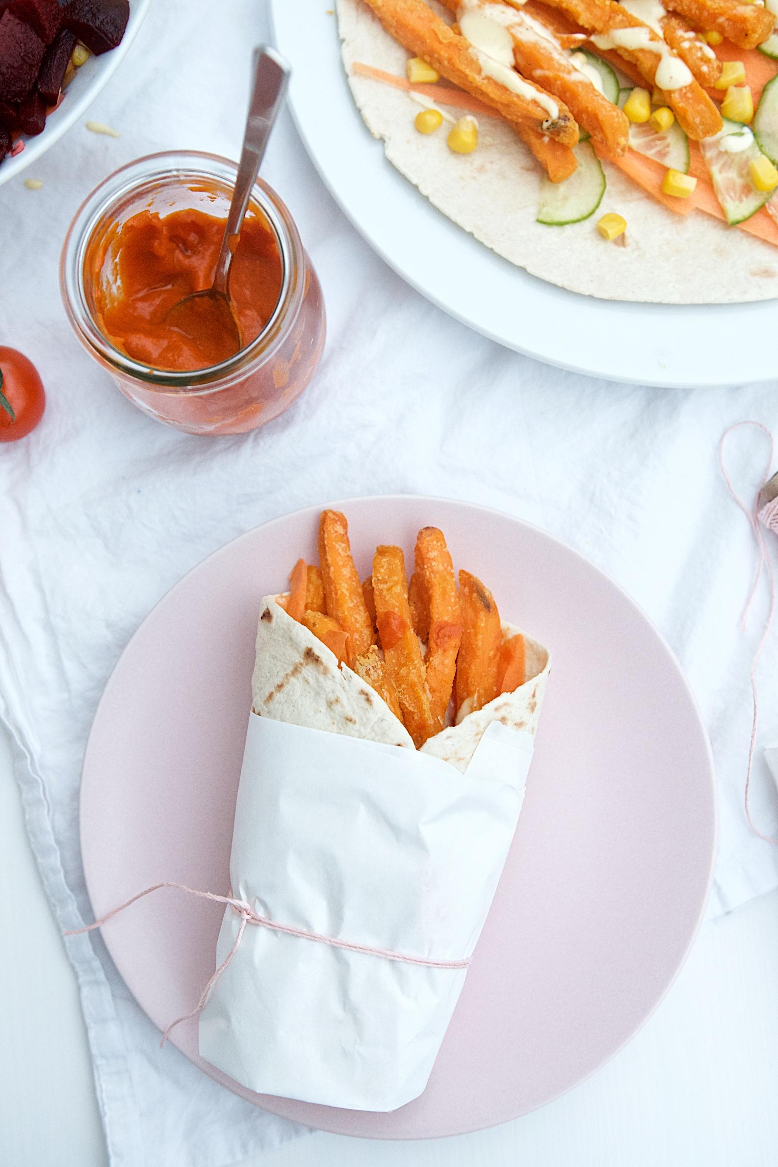 Süßkartoffelpommes-Wrap mit Gemüse und selbstgemachter Mayonnaise | Pinkepank (4)