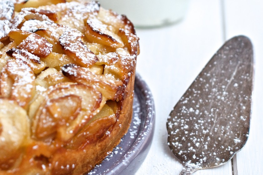 Rezept für Apfelkuchen mit Crème fraîche