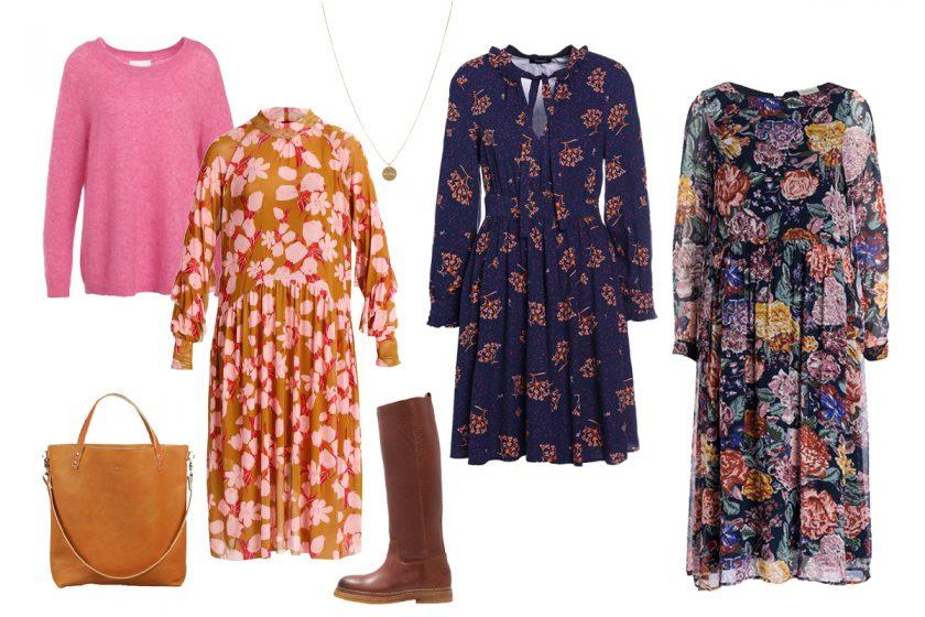 Blumenkleider für den Herbst stylen
