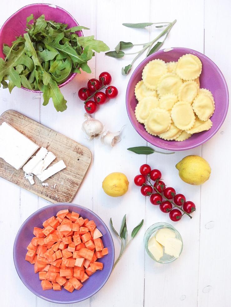 Ravioli mit Süßkartoffeln, Tomaten und Rucola - Zutaten