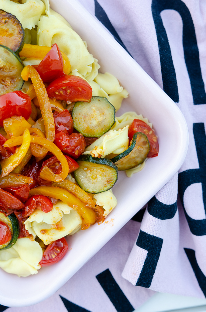 Rezept für schnelles Tortellini-Gratin mit Gemüse