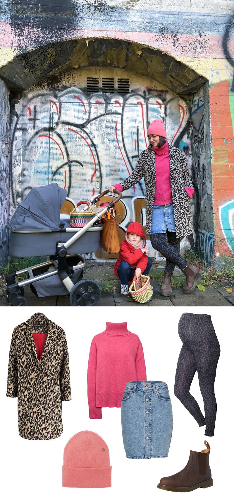 PinkepankStyle - Herbst Outfit mit Kuschelpulli und Leo-Mantel, fair Fashion Umstandsmode