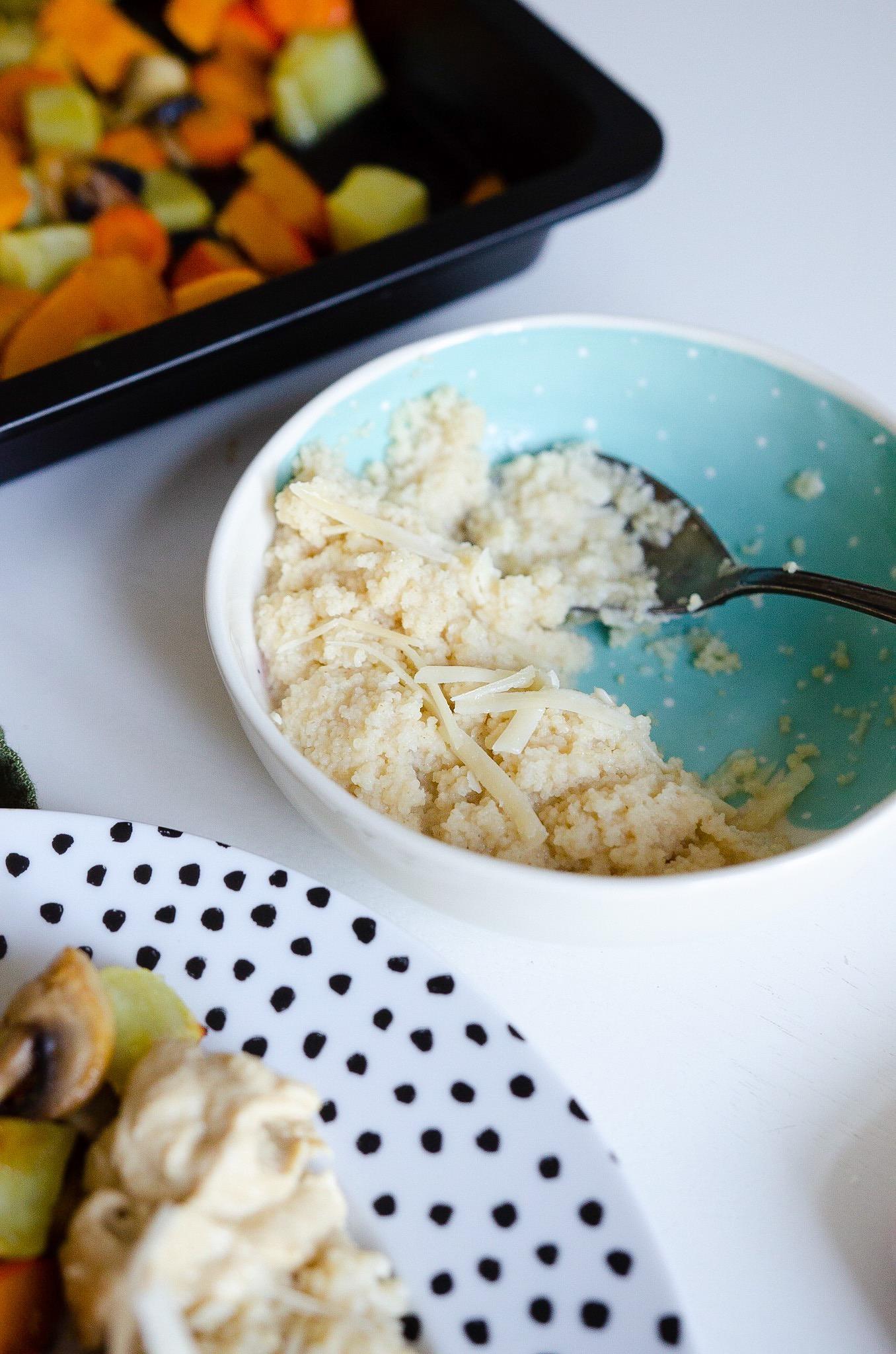 Ofengemüse mit Parmesan-Couscous und Halloumi