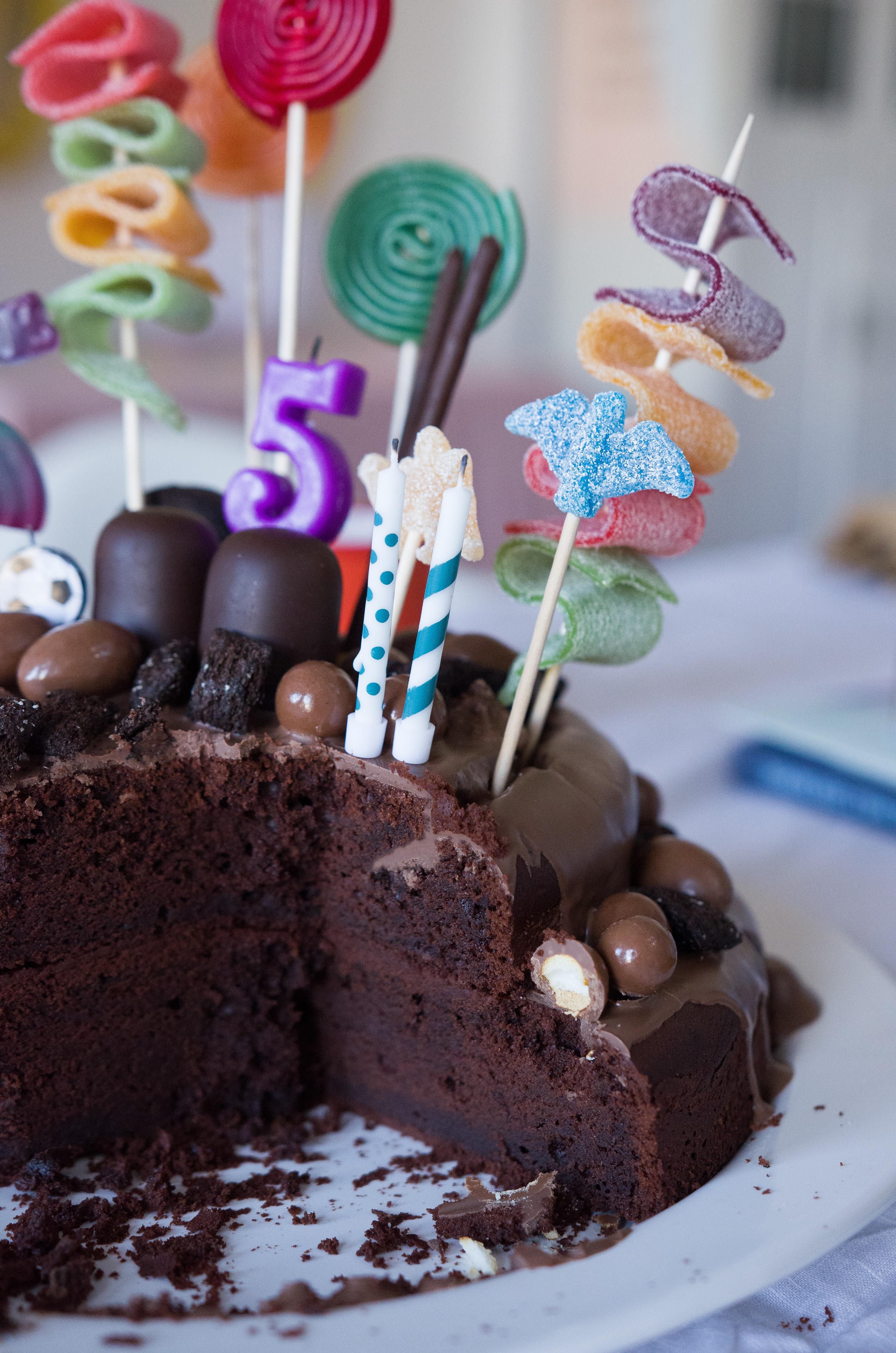 Schoko-Schock oder Schoko-Traum? Saftigster Schokokuchen als Basis für Candy Cake Geburtstagskuchen