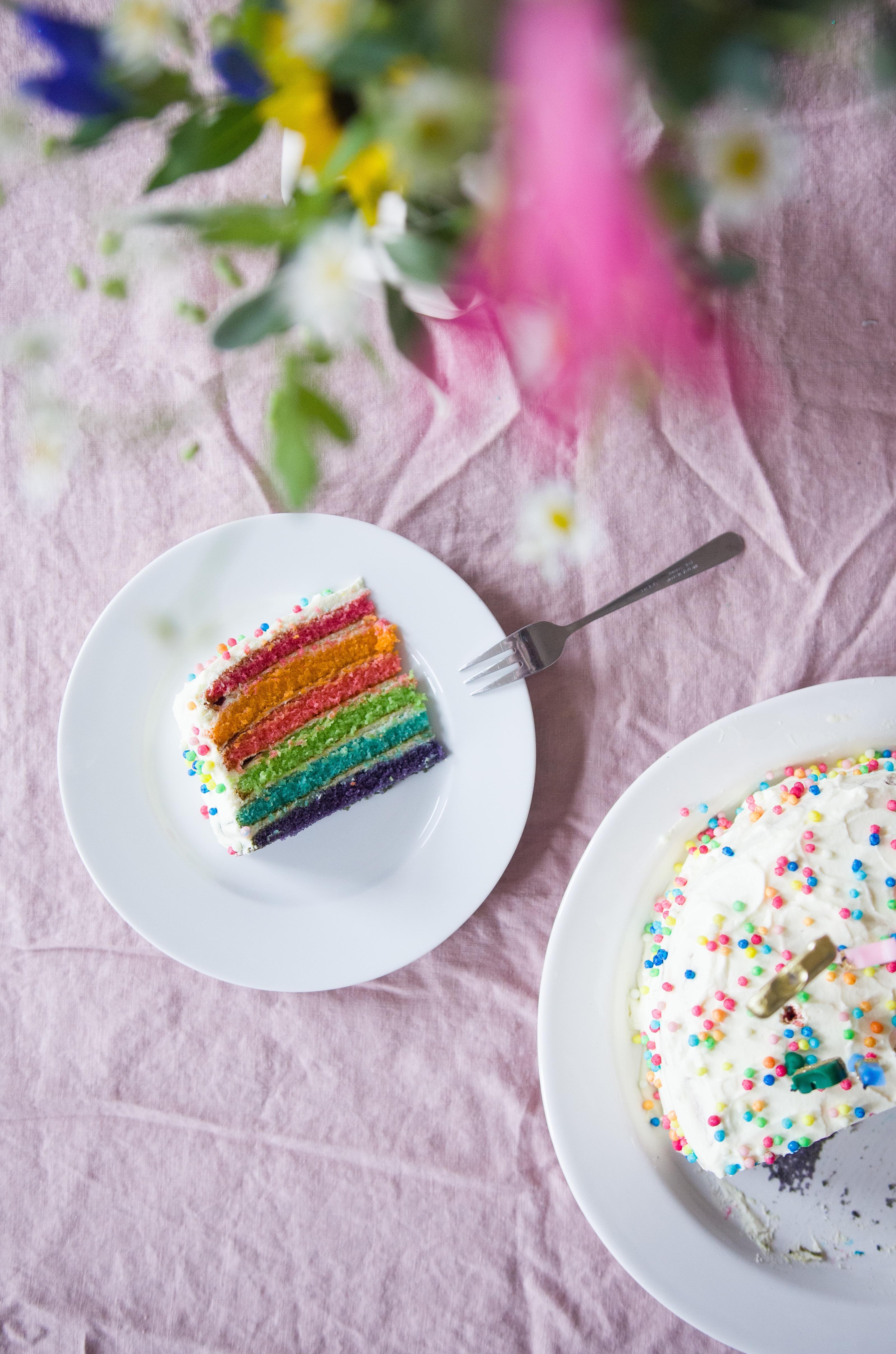 Rezept Regenbogenkuchen. Rainbowcake zum Kindergeburtstag.