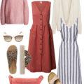 Frühlingslook mit Kleid und Strickpulli