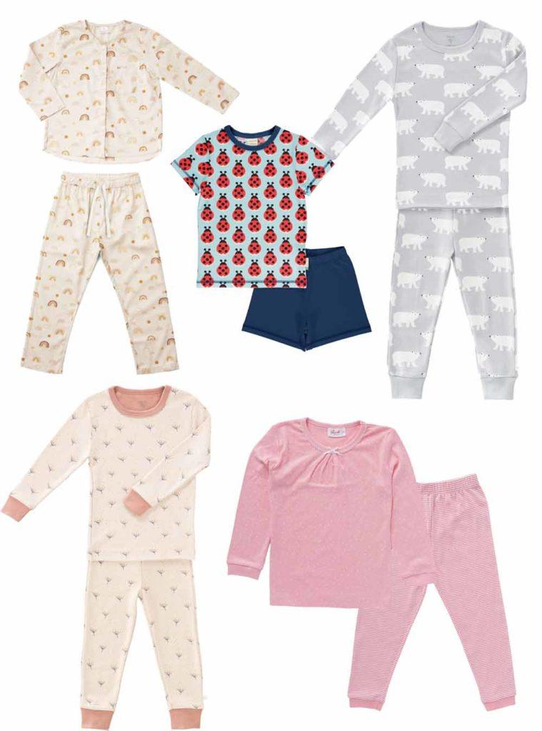 Schöne Schlafanzüge für Kinder - mit Eisbären, Regenbögen, Punkten und Streifen